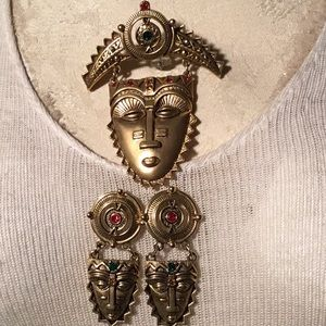Jewelry - Avon Antique Gold African Mask Brooch & Earring